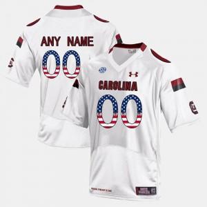 White Mens #00 University of South Carolina US Flag Fashion College Custom Jersey