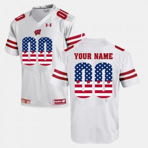 US Flag Fashion #00 White College Custom Jersey Mens Wisconsin Badger