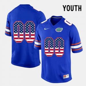UF Blue US Flag Fashion Youth College Custom Jersey #00