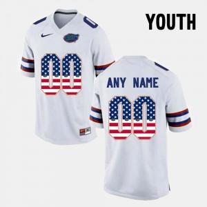US Flag Fashion White Youth College Custom Jersey #00 Gators