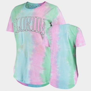 Rainbow Tie Dye Florida Gator Women College T-Shirt Bay