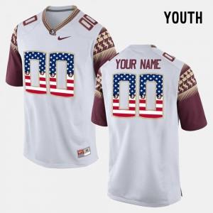 Kids #00 Seminole College Customized Jerseys US Flag Fashion White