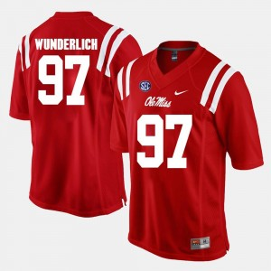 Alumni Football Game Gary Wunderlich College Jersey #97 Red For Men Ole Miss Rebels