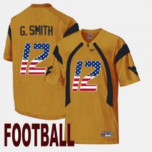 WV #12 US Flag Fashion Gold Geno Smith College Jersey Men