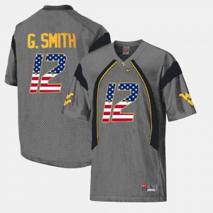 #12 Geno Smith College Jersey US Flag Fashion Mens Gray WVU