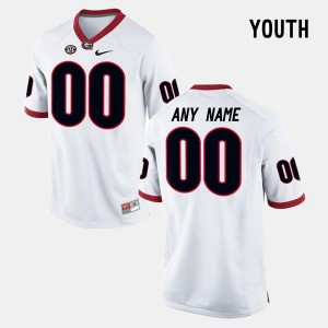 White #00 College Customized Jersey University of Georgia For Kids Limited Football