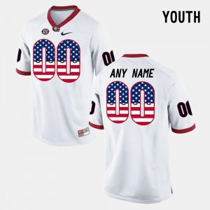 Youth(Kids) Georgia College Custom Jersey White US Flag Fashion #00