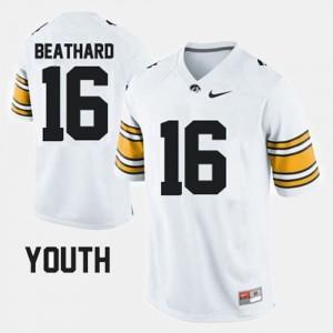 C.J. Beathard College Jersey Iowa Hawk Football White #16 Youth(Kids)