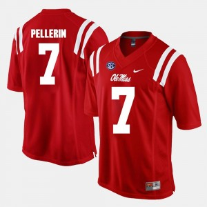 Red For Men's #7 Jason Pellerin College Jersey Alumni Football Game Ole Miss Rebels