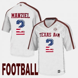 #2 For Men White Johnny Manziel College Jersey US Flag Fashion A&M