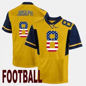 #8 Men WVU Gold US Flag Fashion Karl Joseph College Jersey