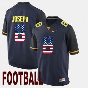 WV #8 US Flag Fashion Navy Men's Karl Joseph College Jersey