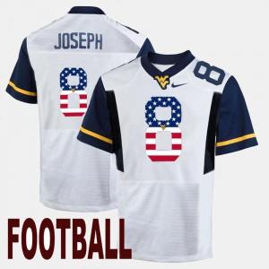 #8 Karl Joseph College Jersey White US Flag Fashion For Men's West Virginia University
