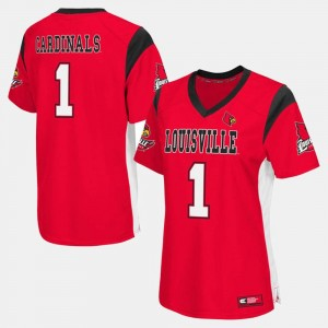 Louisville Cardinal Ladies #1 Football College Jersey Red