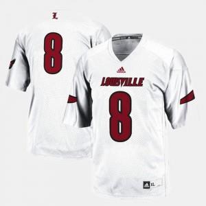 White Louisville Cardinals Football #8 College Jersey Men's
