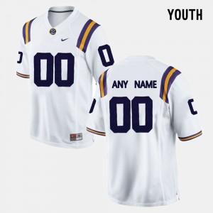 College Custom Jerseys #00 Kids White LSU Limited Football