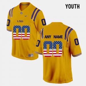 Youth(Kids) LSU Gold College Custom Jersey #00 US Flag Fashion