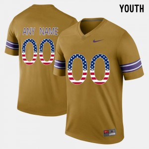 #00 For Kids US Flag Fashion LSU Tigers Gridiron Gold College Customized Jerseys