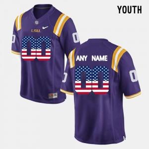 Youth(Kids) #00 Purple LSU College Customized Jerseys US Flag Fashion