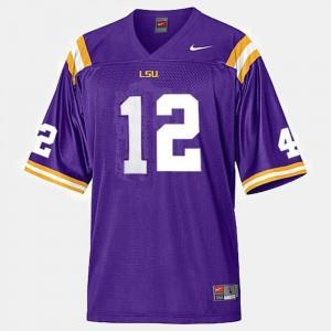 Jarrett Lee College Jersey Louisiana State Tigers Football #12 Purple Youth