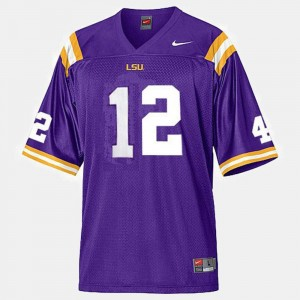 Mens Purple #12 LSU Jarrett Lee College Jersey Football