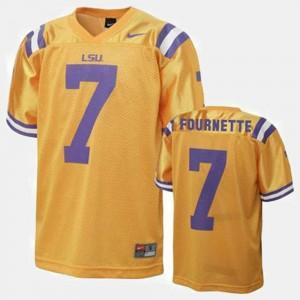 #7 Louisiana State Tigers Leonard Fournette College Jersey Gold Football Men
