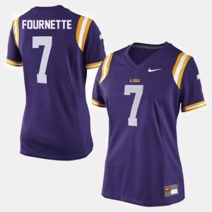 Leonard Fournette College Jersey #7 Tigers Football Purple Women