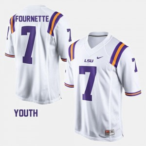 White #7 Football Youth(Kids) Leonard Fournette College Jersey Tigers