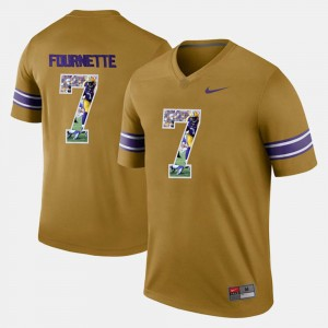For Men's Gold #7 Player Pictorial LSU Tigers Leonard Fournette College Jersey