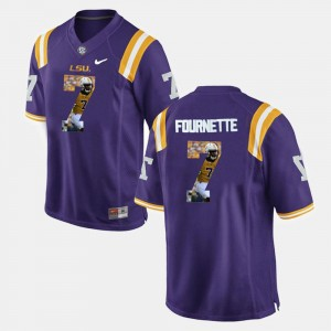 Purple Player Pictorial Leonard Fournette College Jersey For Men's #7 Tigers