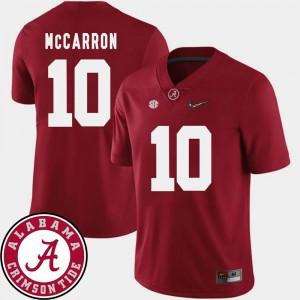 #10 2018 SEC Patch Football For Men's AJ McCarron College Jersey Crimson University of Alabama
