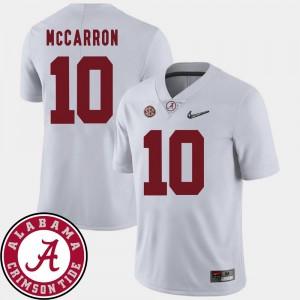 White 2018 SEC Patch For Men's #10 AJ McCarron College Jersey Football Alabama