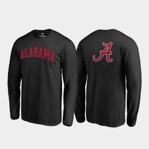 Long Sleeve Men's Black College T-Shirt Primetime Alabama