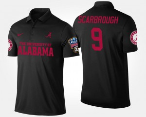 Mens Bo Scarbrough College Polo Sugar Bowl Bowl Game Black #9 Alabama Crimson Tide
