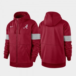 Crimson 2019 Sideline Therma-FIT Performance Full-Zip Alabama Roll Tide For Men College Hoodie