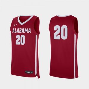 University of Alabama Basketball Crimson Men's Replica College Jersey #20