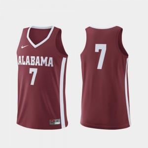 #7 Crimson Basketball For Men Replica Roll Tide College Jersey