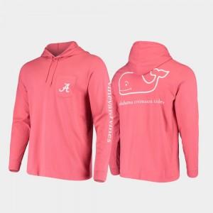 Mens Whale Crimson College T-Shirt Hooded Long Sleeve Bama