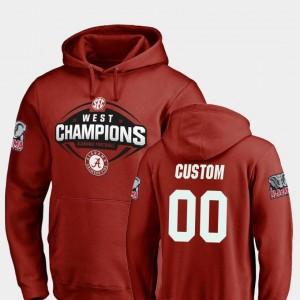 Bama Football 2018 SEC West Division Champions #00 Crimson College Custom Hoodie Mens