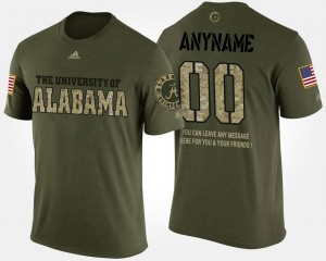 #00 College Customized T-Shirt Military Alabama Short Sleeve With Message For Men's Camo