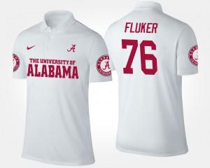 Alabama Men D.J. Fluker College Polo White #76