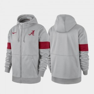 Gray Alabama Crimson Tide Performance Full-Zip For Men's 2019 Sideline Therma-FIT College Hoodie