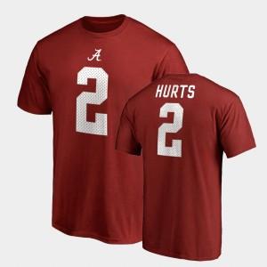 Jalen Hurts College T-Shirt Alabama Crimson Name & Number Legends #2 For Men's