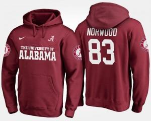 For Men's Alabama Roll Tide Crimson Kevin Norwood College Hoodie #83