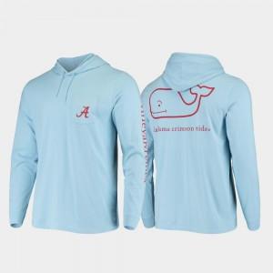 Whale Bama Light Blue College T-Shirt Hooded Long Sleeve Men's