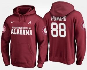 Mens Crimson University of Alabama #88 O.J. Howard College Hoodie