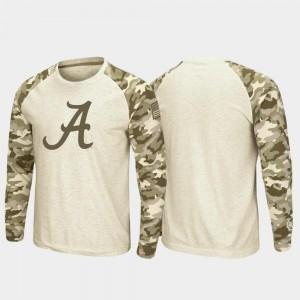 Oatmeal Raglan Long Sleeve Desert Camo Men OHT Military Appreciation Alabama College T-Shirt