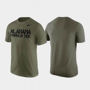 University of Alabama For Men Olive College T-Shirt Stencil Wordmark