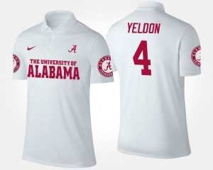 Alabama White #4 For Men T.J. Yeldon College Polo