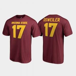 Men Legends #17 Arizona State Sun Devils Maroon Name & Number Brock Osweiler College T-Shirt